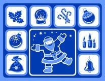 Christmas icons set. Santa, balls, holly berry, candles, candy canes, snow globe and handbell Royalty Free Stock Image