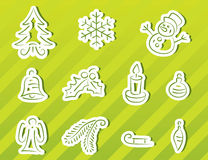 Christmas icons set. (green background Stock Photography