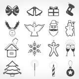 Christmas Icons. Set of 16 christmas icons Stock Images
