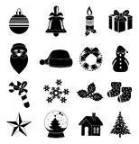 Christmas icons set. Christmas  icons set in black Stock Images