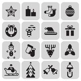 Christmas icons set black Royalty Free Stock Photography