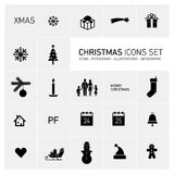 Christmas icons set black and white Stock Images