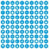 100 christmas icons set blue. 100 christmas icons set in blue hexagon isolated vector illustration Vector Illustration