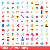 100 christmas icons set, cartoon style Stock Images
