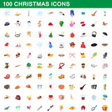 100 christmas icons set, cartoon style. 100 christmas icons set in cartoon style for any design vector illustration Stock Images