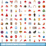 100 christmas icons set, cartoon style Royalty Free Stock Images