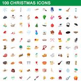 100 christmas icons set, cartoon style. 100 christmas icons set in cartoon style for any design illustration royalty free illustration