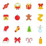 Christmas icons set in cartoon style Stock Photo