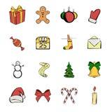 Christmas icons set cartoon Stock Photography