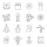 Christmas icons. Set of celebratory icons drawn in a linear style Stock Image