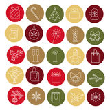 Christmas icons. Set of celebratory icons drawn in a linear style Stock Images