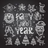 Christmas icons set chalkboard Stock Photography