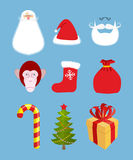 Christmas icons set. Characters: Christmas and new year gift.  Royalty Free Stock Photo