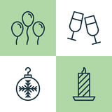Christmas Icons Set. Collection Of Fire Wax, Champagne Glasses, Air Ball And Other Elements. Also Includes Symbols Such Royalty Free Stock Images