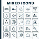 Christmas Icons Set. Collection Of Snow Person, Wedding Jewel, Brilliant And Other Elements. Also Includes Symbols Such Royalty Free Stock Photos
