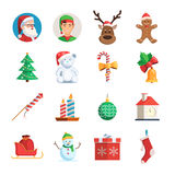 Christmas icons set. Collection of symbols of the winter holiday. Christmas vector flat illustration  on white background for web design or greeting card Stock Photo