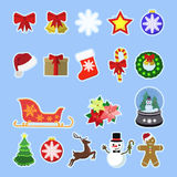 Christmas icons Set. Colletction of colorful X-mas illustrations. Bells, reindeer, showman, Christmas tree, New Year decoration items, presents, socks. Flat stock illustration