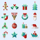 Christmas icons set color vector illustration