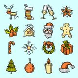 Christmas icons set color Royalty Free Stock Images