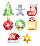 Christmas icons set. Colorful jewels. Royalty Free Stock Images