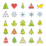 Christmas icons. Set of 25 cute Christmas icons on white background Stock Photography
