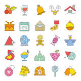Christmas icons. Set of 25 cute Christmas icons on white background Royalty Free Stock Photography