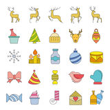Christmas icons. Set of 25 cute Christmas icons on white background Royalty Free Stock Photos