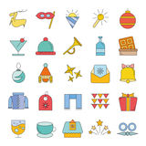 Christmas icons. Set of 25 cute Christmas icons on white background Stock Images