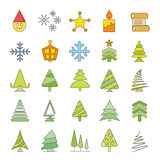 Christmas icons. Set of 25 cute Christmas icons on white background Royalty Free Stock Photo