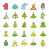 Christmas icons. Set of 25 cute Christmas icons on white background Stock Photos