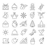 Christmas icons. Set of 25 cute Christmas icons on white background Royalty Free Stock Images