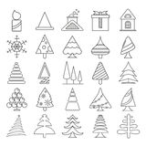 Christmas icons. Set of 25 cute Christmas icons on white background Stock Image
