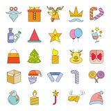 Christmas icons. Set of 25 cute Christmas icons on white background Stock Photo