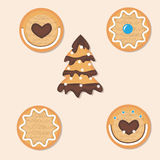 Christmas icons set of different cookies, gingerbread Christmas. Christmas icons set of different cookies , gingerbread Christmas tree stock illustration