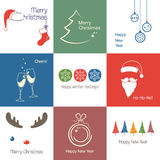 Christmas icons. Set of icons and emblems for Christmas, New Year and winter design Stock Image