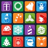 Christmas icons set flat Stock Photography
