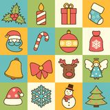 Christmas icons set flat line Royalty Free Stock Photography