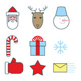 Christmas icons set. Flat  line icons for new year. Santa Claus Stock Images
