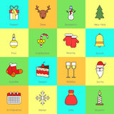 Christmas icons set flat line Stock Photography
