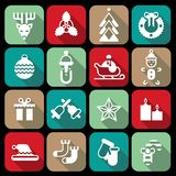 Christmas icons set flat Stock Photo