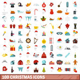 100 christmas icons set, flat style. 100 christmas icons set in flat style for any design vector illustration Stock Image