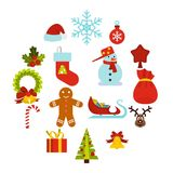 Christmas icons set, flat style. Christmas icons set in flat style. Xmas elements set collection vector illustration Royalty Free Stock Images