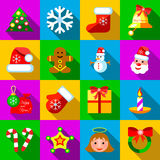 Christmas icons set, flat style. Christmas icons set in flat style. Xmas elements set collection vector illustration Royalty Free Stock Image