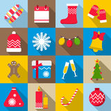 Christmas icons set, flat style. Christmas icons set in flat style. Xmas elements set collection vector illustration Stock Image