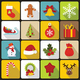 Christmas icons set in flat style. Xmas elements set collection vector illustration Stock Image
