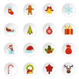 Christmas icons set, flat style. Christmas icons set in flat style. Xmas elements set collection vector icons set illustration Stock Photos