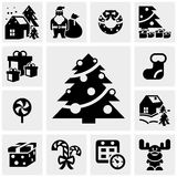 Christmas  icons set on gray. Stock Photo