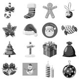 Christmas icons set, gray monochrome style Royalty Free Stock Image