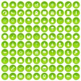 100 christmas icons set green circle. Isolated on white background vector illustration Royalty Free Stock Photography