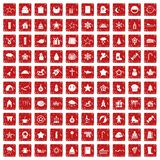 100 christmas icons set grunge red. 100 christmas icons set in grunge style red color isolated on white background vector illustration Vector Illustration